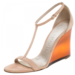 Burberry Prorsum Blush Pink Suede Leyburn Lucite Wedge Ankle Strap Sandals Size 40 - used