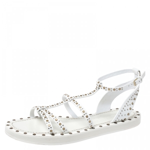 Burberry White Studded Leather Hansel T-Strap Flat Sandals Size 39.5 - used