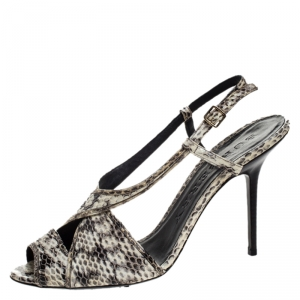 Burberry Cream/Black Python Effect Leather Criss Cross Slingback Sandals Size 41 - used