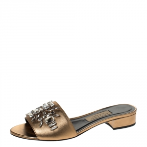 Burberry Metallic Gold Leather Crystal Embellished Flat Slides Size 38.5 - used