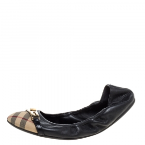 Burberry Beige Coated Canvas And Black Leather Scrunch Ballet Flats Size 36 - used