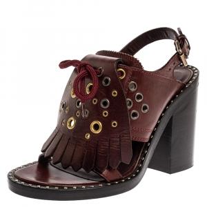 Burberry Burgundy Leather Beverley Eyelet Fringe Detail Block Heel Sandals Size 36