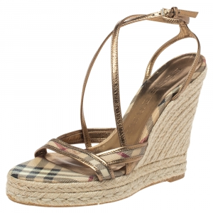 Burberry Gold/Beige House Check PVC and Patent Leather Criss Cross Espadrille Sandals Size 40.5