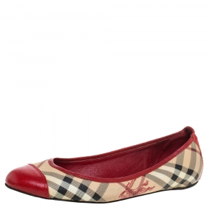Burberry Beige/Red Coated Canvas And Leather Round Cap Toe Ballet Flats Size 39