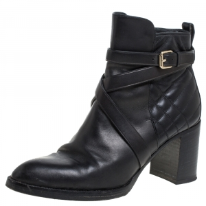 Burberry Black Quilted Leather Buckle Ankle Boots Size 40