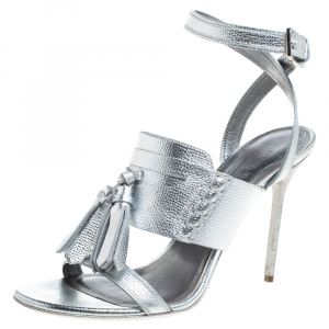 Burberry Metallic Silver Leather Bethany Ankle Strap Sandals Size 39 - used