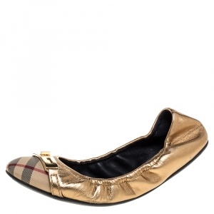 Burberry Metallic Gold/Beige Canvas And Leather Scrunch Ballet Flats Size 38