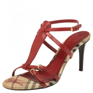 Burberry Red Leather Ankle Strap Sandals Size 40