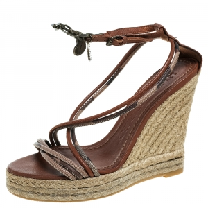 Burberry Brown Leather Smoked Strappy Espadrille Wedge Sandals Size 38