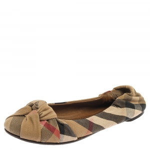 Burberry Beige Canvas Nova Check Knotted Bow Ballet Flats Size 38