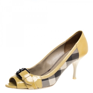 Burberry Yellow/Beige Check PVC and Patent Leather Buckle Peep Toe Pumps Size 38