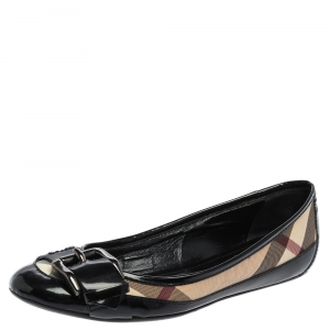 Burberry Black  Patent Leather And Coated Canvas Nova Check Buckle Detail Ballet Flats Size 37