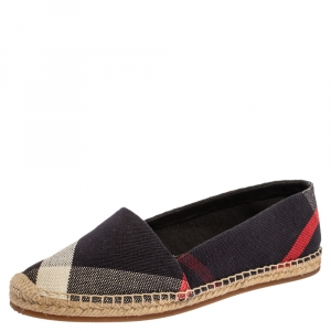 Burberry Navy Blue Nova Check Canvas Espadrilles Size 38