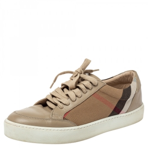 Burberry Beige Leather and Nova Check Canvas Low Top Sneakers Size 38