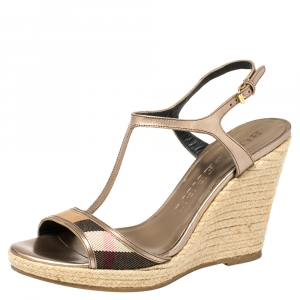Burberry Metallic Bronze Leather And House Check Fabric T-Strap Espadrille Sandals Size 39
