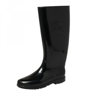 Burberry Black Rubber Knight Rain Boots Size 36 - used