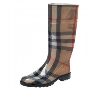 Burberry Brown Nova Check Rubber Rain Boots Size 38 - used