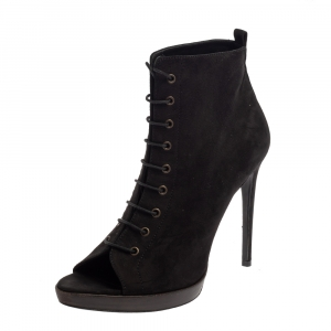 Burberry Black Suede Lace Up Peep Toe Ankle Booties Size 40 - used