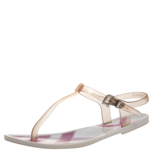 Burberry White PVC Thong Ankle Strap Sandals Size 36 - used