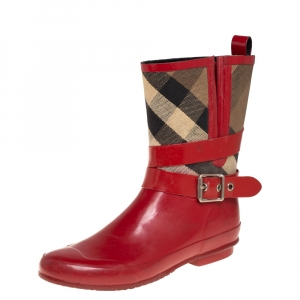 Burberry Red Rubber And Nova Check Canvas Buckle Rain Boots Size 39
