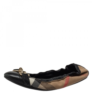 Burberry Black House Check Canvas And Leather Shipley Ballet Flats Size 36 - used