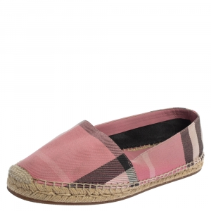 Burberry Pink Hodgeson Check Canvas Flat Espadrille Size 40 - used