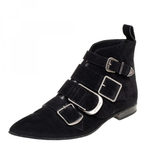 Burberry Black Suede Milner Buckle Detail Ankle Boots Size 39.5 - used