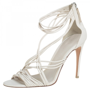 Burberry White Leather Multi Strap Sandals Size 39 - used