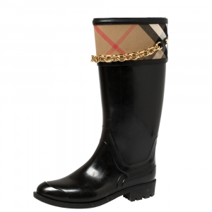 Burberry Black Rubber And Nova Check Canvas Chain Link Rain Boots Size 39