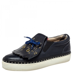 Burberry Navy Blue Leather Kiltie Fringe Slip On Sneakers Size 39.5