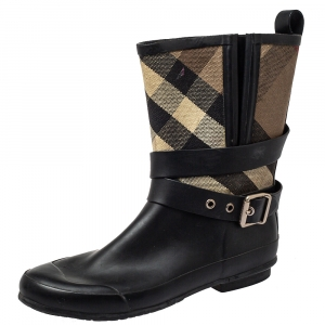 Burberry Beige/Black Check Canvas And Rubber Midcalf Boots Size 39