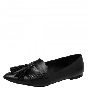 Burberry Black Leather Coledale Tassel Pointed Toe Penny Loafers Size 40