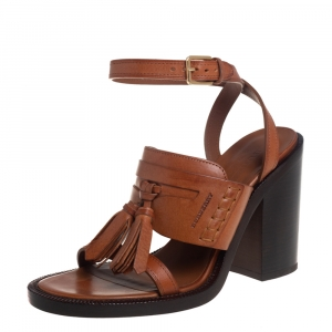 Burberry Brown Leather Bethany Tassel Detail Block Heel Ankle Strap Sandals Size 39