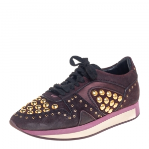 Burberry Burgundy Suede And Satin Studded Low Top Sneakers Size 38