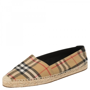 Burberry Vintage Check Canvas Espadrille Flats Size 40 - used