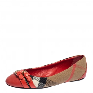 Burberry Beige/Red Nova Check Canvas And Leather Avonwick Buckle Detail Ballet Flats Size 35