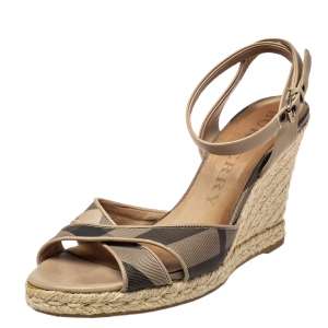 Burberry Beige/Black Coated Canvas And Leather Ankle Strap Espadrille Wedges Sandals Size 40 - used