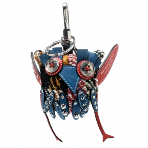 Burberry Mavis The Owl Blue Leather Wool Embellished Bag Charm