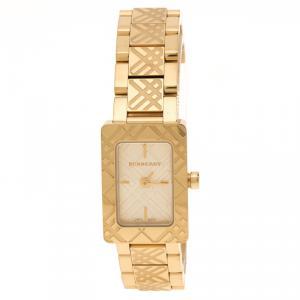 Burberry Gold Plated Steel Check BU1171 Women's Wristwatch 19 mm