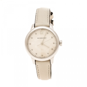 Burberry Grey Check-Stamped Stainless Steel Classic BU10105 Women's Wristwatch 32 mm