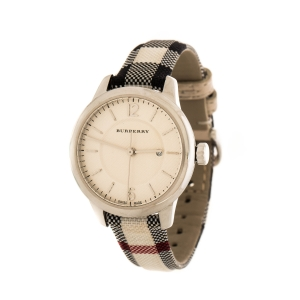 Burberry Cream Stainless Steel The classic Horseferry Check BU10103 Women's Wristwatch 32 mm