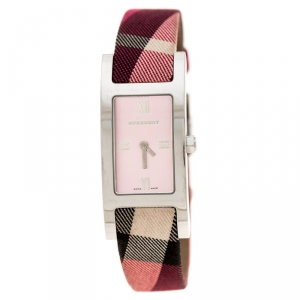 Burberry Silver Pink Stainless Steel Heritage BU1025 Women's Wristwatch 18 mm