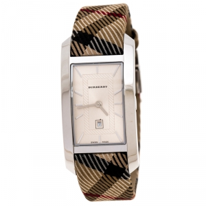 Burberry Silver White Stainless Steel Heritage BU1050 Women's Wristwatch 25 mm