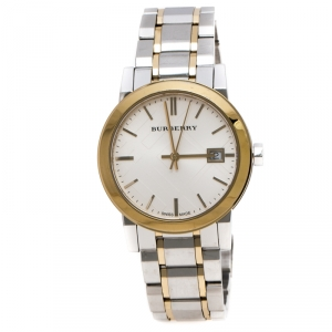 Burberry Silver Gold Plated Stainless Steel The City BU9115 Women's Wristwatch 34MM