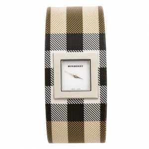 Burberry White Stainless Steel Canvas Signature Nova Check BU4000 Women's Wristwatch 22 mm