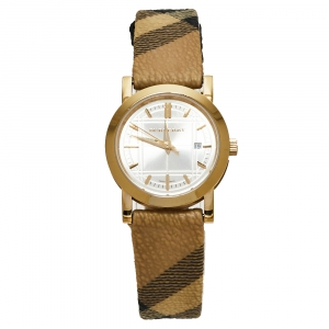 Burberry Champagne Yellow Gold Tone Stainless Steel Novacheck Canvas BU1399 Women's Wristwatch 28 MM