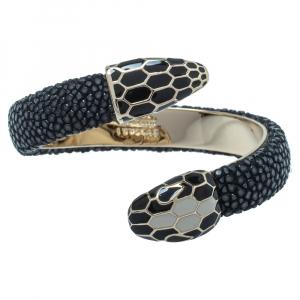 Bvlgari Black Galuchat Leather Serpenti Forever Rigid Bracelet