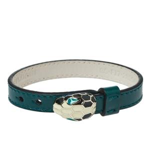 Bvlgari Serpenti Forever Enamel Gold Plated Green Leather Bracelet