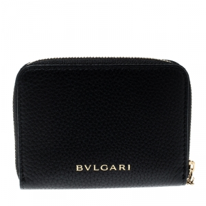 Bvlgari Black Leather Divas' Dream Zipped Around Wallet