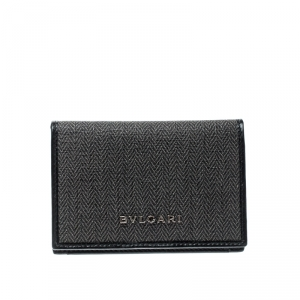 Bvlgari Grey/Black Coated Canvas Business Card Holder